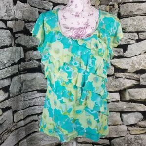 Apt. 9 Blue and Green Ruffle Blouse Size L